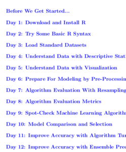 Machine Learning Mastery With R Mini Course Table of Contents